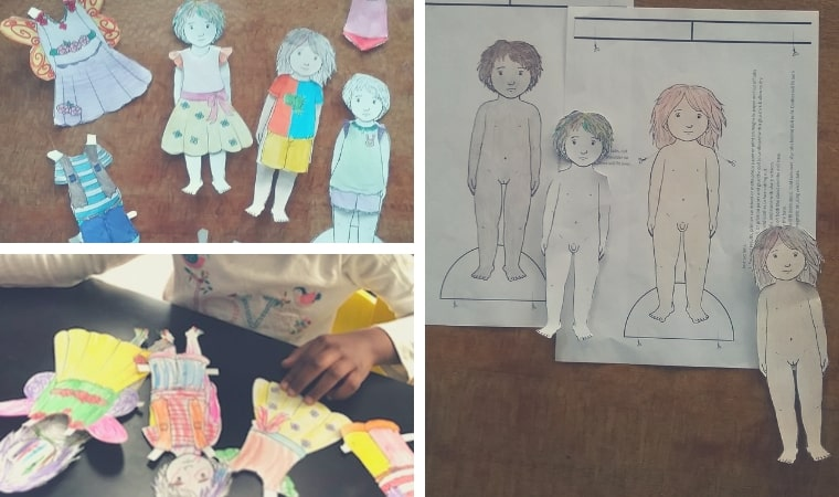 sample of the transgender paperdolls coloured in and cut out